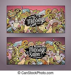 salon, dessin animé, 2, doodles, bannières horizontales, masage