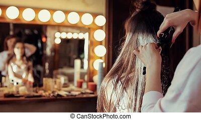 salon, dziewczyna, piękno