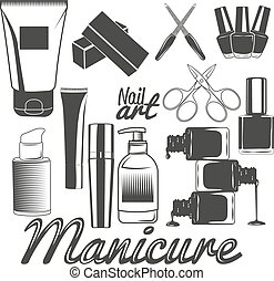 salon, ensemble, éléments, beauté, clous, icons., accessories., tools., vecteur, conception, produits de beauté, manucure, manicure.