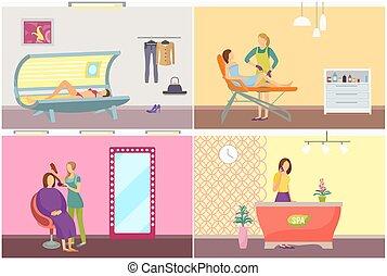 salon, ensemble, beauté, déménagement, cheveux, vecteur, spa, jambes