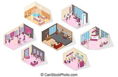 salon, ensemble, beauté, grand, isométrique, salles, intérieur