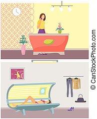 salon, ensemble, beauté, vecteur, bronzage, spa, procédure