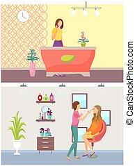 salon, ensemble, visage, maquillage, vecteur, réception, spa