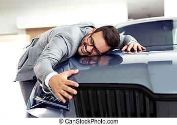 salon, exposition, auto, toucher, voiture, homme, ou, heureux