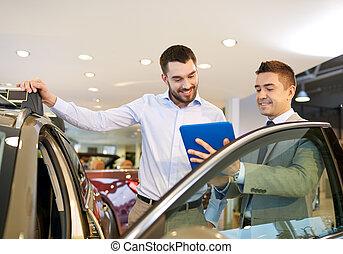 salon, exposition, revendeur automatique, voiture, homme,...