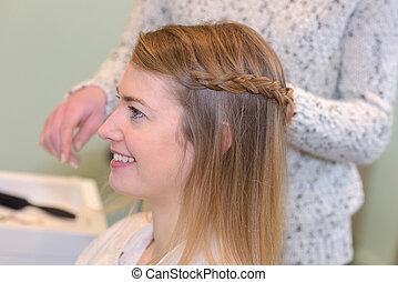 salon, femme, cheveux