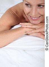 salon, femme, masage