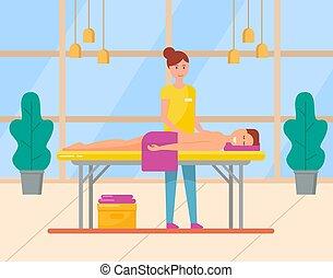 salon, femme, masseuse, dos, spa, masage