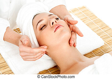 salon, femme, obtenir, facial, spa, masage