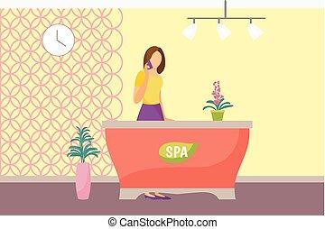 salon, femme, vecteur, secrétaire, réception, spa