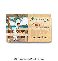 salon, frau, verhätscheln, card., geschenk, brandmarken, verkauf, rabatt, strand., design, spa, genießen, sich, tag, massage