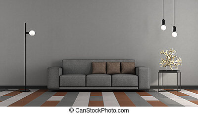 salon, gris, moderne, brun