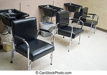 Salon Hair Sinks - Hair Salon - a row of hair washing sinks...