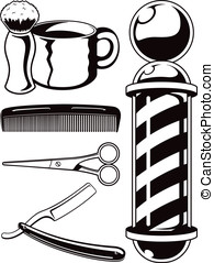 Salon Haircut and Barbershop Elements Cartoon Vector Graphic...