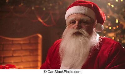 salon, ho-ho-ho, claus, noël, santa, soir, magicien, amical, proverbe, portrait, vivant