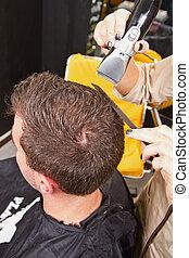 salon, homme, cheveux