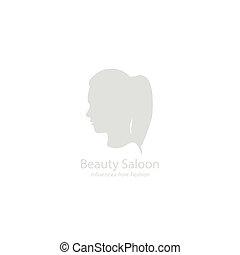 salon, illustration., piękno, girl., wektor, ikona
