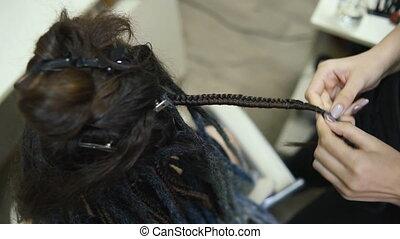 salon, kapper, dreadlocks, klant, meisje, weefsels