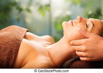 salon, kobieta, młody, twarz, zdrój, posiadanie, masaż