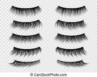 salon, komplet, fałszywy, piękno, rzęsy, lashes., makijaż, realistyczny, wektor, zamknięty, fałszować, modny, gruby, eye., bicz, kobiety