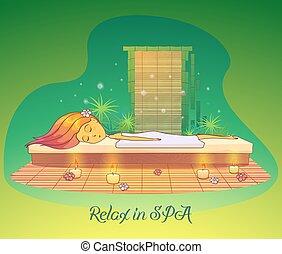 salon, kvinde afslappende, kurbad, pige, eller, liggende
