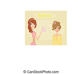 salon, kvinna, frisering