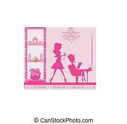 salon, kvinna, illustration, frisering