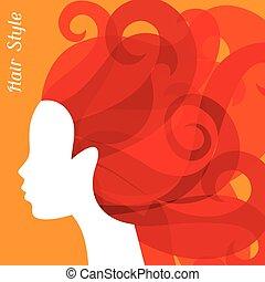 salon, kvinna, silhuett, bacground, lockigt hår, frisering