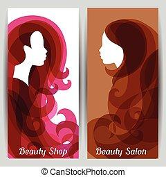 salon, kvinna, silhuett, lockigt hår, baner, frisering