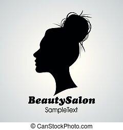 salon, kvinna, silhuett, skönhet, hår småfranska, icon.
