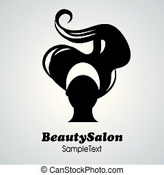salon, kvinna, silhuett, skönhet, långt hår, icon.