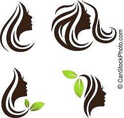salon, kvinna, skönhet, hår satte, design, kurort, logo