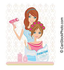 salon, kvinna, skönhet, hår, torkat, har