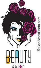 salon, kvinna, skönhet, -, vektor, logo