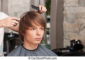 salon, kvinnlig, sittande, frisör, hår bitande, client., man...