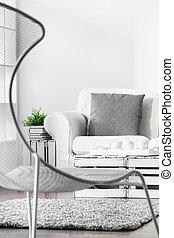 salon, leunstoel, moderne
