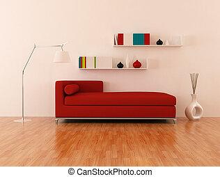 salon, moderne, rouges, divan