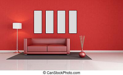 salon, moderne, rouges
