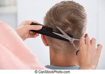 salon, obtenir, coupe, coiffeur, femme, homme