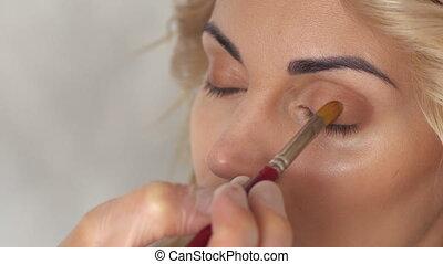 salon, oeil, beauté, met, artiste, maquillage, ombre