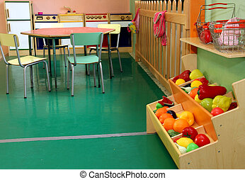 nursery with stand and wooden kitchen toy