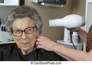 salon, personne âgée femme, beauté