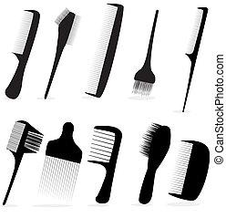 salon, piękno, zbiór, włosy, wektor, fryzjer, ilustracja,...