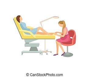 salon, pokój, piękno, pedicure, zdrój, postępowanie