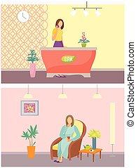 salon, recours, vecteur, réception, relaxation, spa