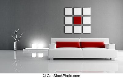 salon, rood, grijs