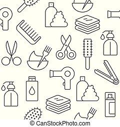 salon, sätta, skissera, mönster, tapet, seamless, hår, bakgrund, suitable, ikon