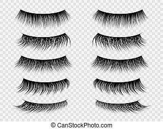salon, sæt, falsk, skønhed, øjenvipper, lashes., makeup,...