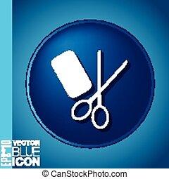 salon, schoenheit, symbol, haar, scissors., kamm, barbershop.