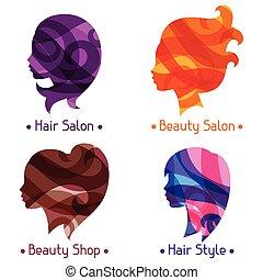 salon, skönhet, symboler, silhouettes, kvinnor, eller, frisering